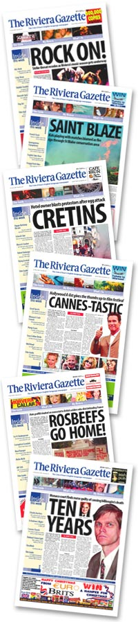 Selected covers from The Riviera Gazette